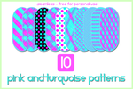 10 Pink and Turquoise Patterns by gollygirls