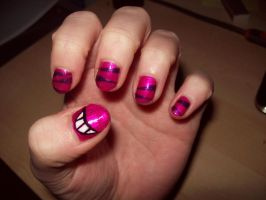 Cheshire Cat Inspired Nails by BlueBlasta