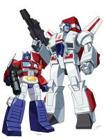 Skyfire and Optimus Prime by Dan-the-artguy