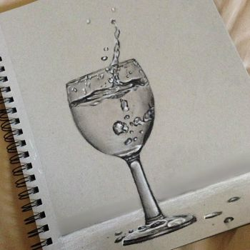 Charcoal Realism Water Glass by depARTingExistance