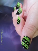 Stripes and Spots - Black and Lime Green by CharleneKaraline