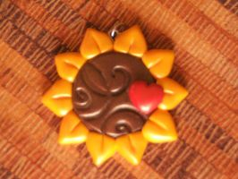 Fimo pendant-Sunflower 1 by Libellulina
