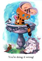 Tigerbuttah and the Bird Bath by Pocketowl