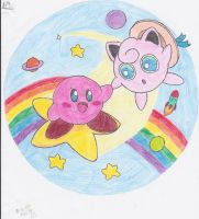 Kirby and Jigglypuff by Waffles-n-Ramen