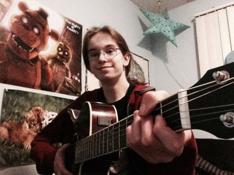 Me with my Electric/Acoustic Guitar by AlexAnythingIWant666