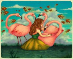 A girl and flamingos by kiz-chan