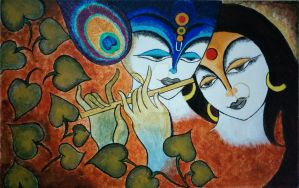 Radha Krishna Abstract Painting by ChartistWorld