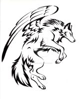 Courage Winged Wolf Tattoo by CaptainMorwen