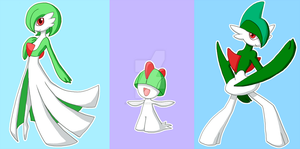Pkmn Ralts and evo by Humanoid-Magpie