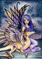 Fae and Dragons series, ACEO 3 by starwoodarts