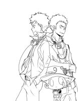 Yamamoto and Ryohei - Lineart2 by LorchRin