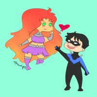 Nightwing and Starfire by thwips