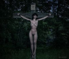 Crucifix In Dark Forest 600 by passionofagoddess