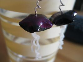 Black and Purple Jellyfish Earrings by Sigilien