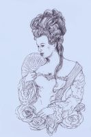 Marie Antoinette lineart by atergnetic