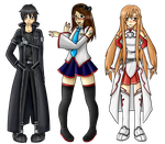 .:Group Artwork Commission:. Kirito, Nikki + Asuna by DarkBox-V2K