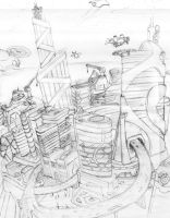 Futuristic City-Early Sketch by Loone-Wolf