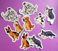 Puppy stickers! by SculptedPups