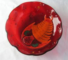 Fused Glass Trilobite Bowl by trilobiteglassworks