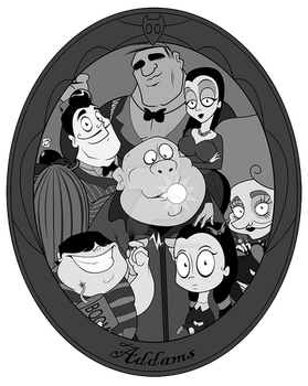 Addams Family Portrait in Frame by smallvillereject