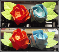 Origami Rose by OdeeQuack