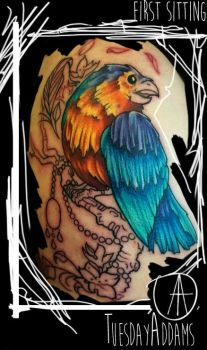 Color Bird Tattoo First Sitting by TuesdayAddams