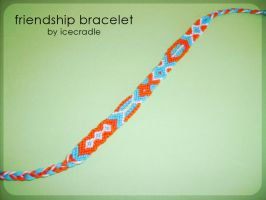 orange and blue friendship bracelet by Icecradle