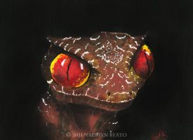 Satanic Leaf Tailed Gecko Print by NadilynBeato