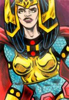 Big Barda sketch card - color by dalgoda7