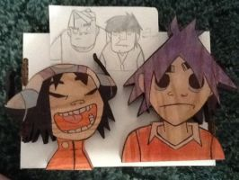 Noodle and 2D - Hey! Our Toys Have Arrived -Wood by 23-hour-party-people