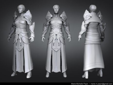 High resolution sculpt Female monk Diablo III by Azraele