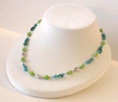 Turquoise Blue + Lime Necklace by Vamppy
