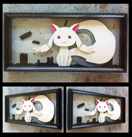 Commission:  Kyubey Shadowbox by The-Paper-Pony