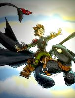 HICCUP AND TOOTHLESS by CThompsonArt