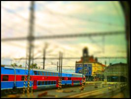 red and blue train by burcyna