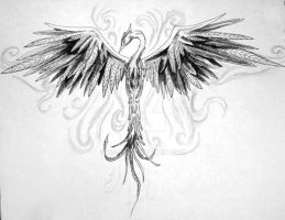 black and grey phoenix by opioid