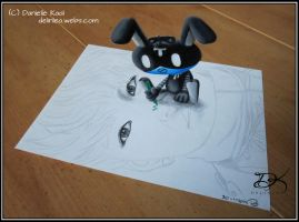 ToTo is ruining my Drawing!! [3D Drawing] by Delinlea
