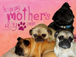 Happy Pugs Mothers Day by Luis-Montiel
