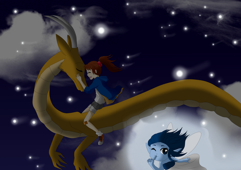 riding on dragon by Sunny160