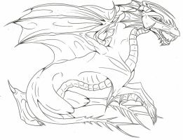 Free lineart- Dragon I by Fyresteed