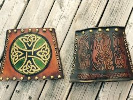 Celtic and Norse Style Leather Bracers by Oblivionleather76