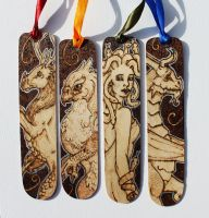 Pyrography Mythical Creatures Bookmarks by BumbleBeeFairy