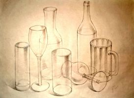 Still Life w/ Glasses and Bottles by clockworkpieces