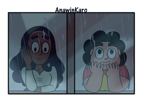 Steven and Connie watching the rain by Anawinkaro
