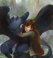 Toothless and Hiccup by lychi
