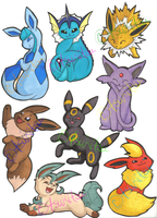 FOR SALE: Eeveelution Cutouts by TsukiTsu
