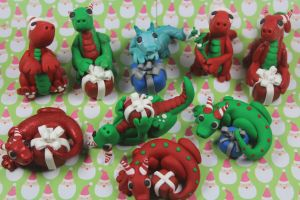 Polymer Clay Christmas Dragons by RaLaJessR