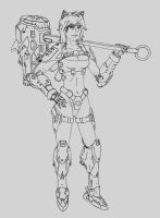 Pretty Mecha Catgirl Soldier by DCN2049