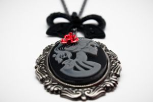 Lady skull cameo necklace by xoxo-homicide