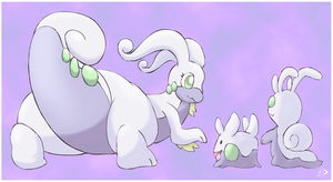 Goodra and family by pichu90